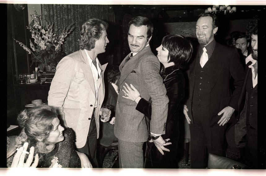 Photo by Gene Spatz, Lucky Lady Party at the 21 club with Liza Minnelli, Burt Reynolds, Ryan O'Neal, Lauren Hutton, Jack Haley Jr., 1975