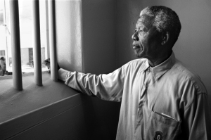 Nelson Mandela Gazing Out Barred Window by David Turnley