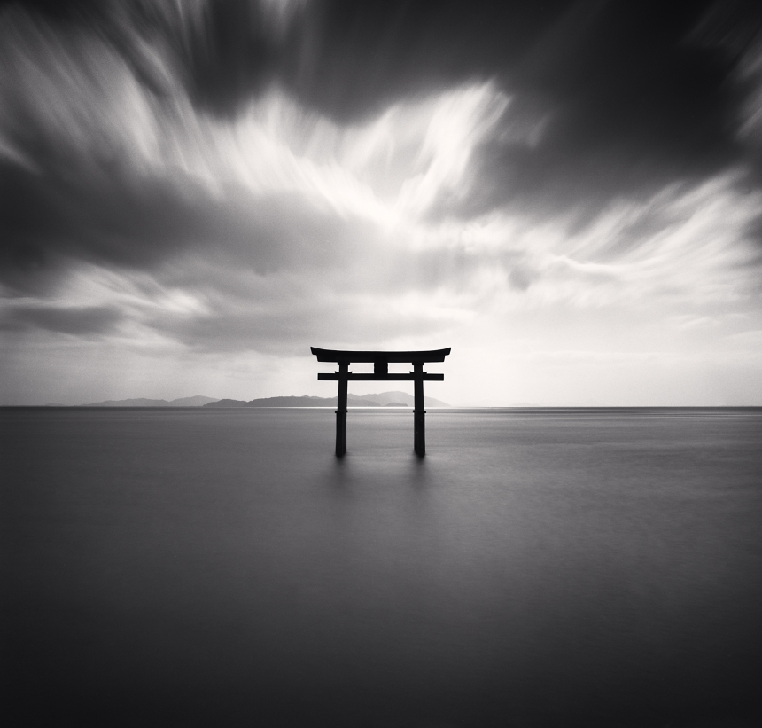 Torii, Study 2 - Biwa Lake, Honshu, Japan (2007) - by Michael Kenna